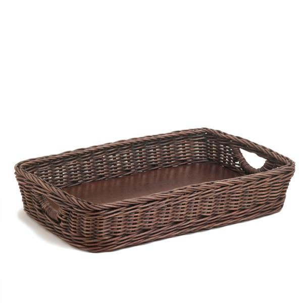 ... The Basket Lady Wicker Serving Tray, Antique Walnut Brown ...