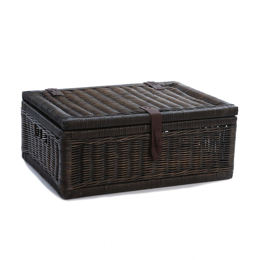 ... Covered Wicker Storage Basket In Antique Walnut Brown, Size Large | The  Basket Lady ...