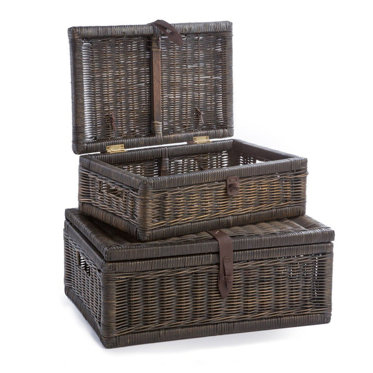 Covered Wicker Storage Basket In Antique Walnut Brown, Nested Set Of 2 |  The Basket