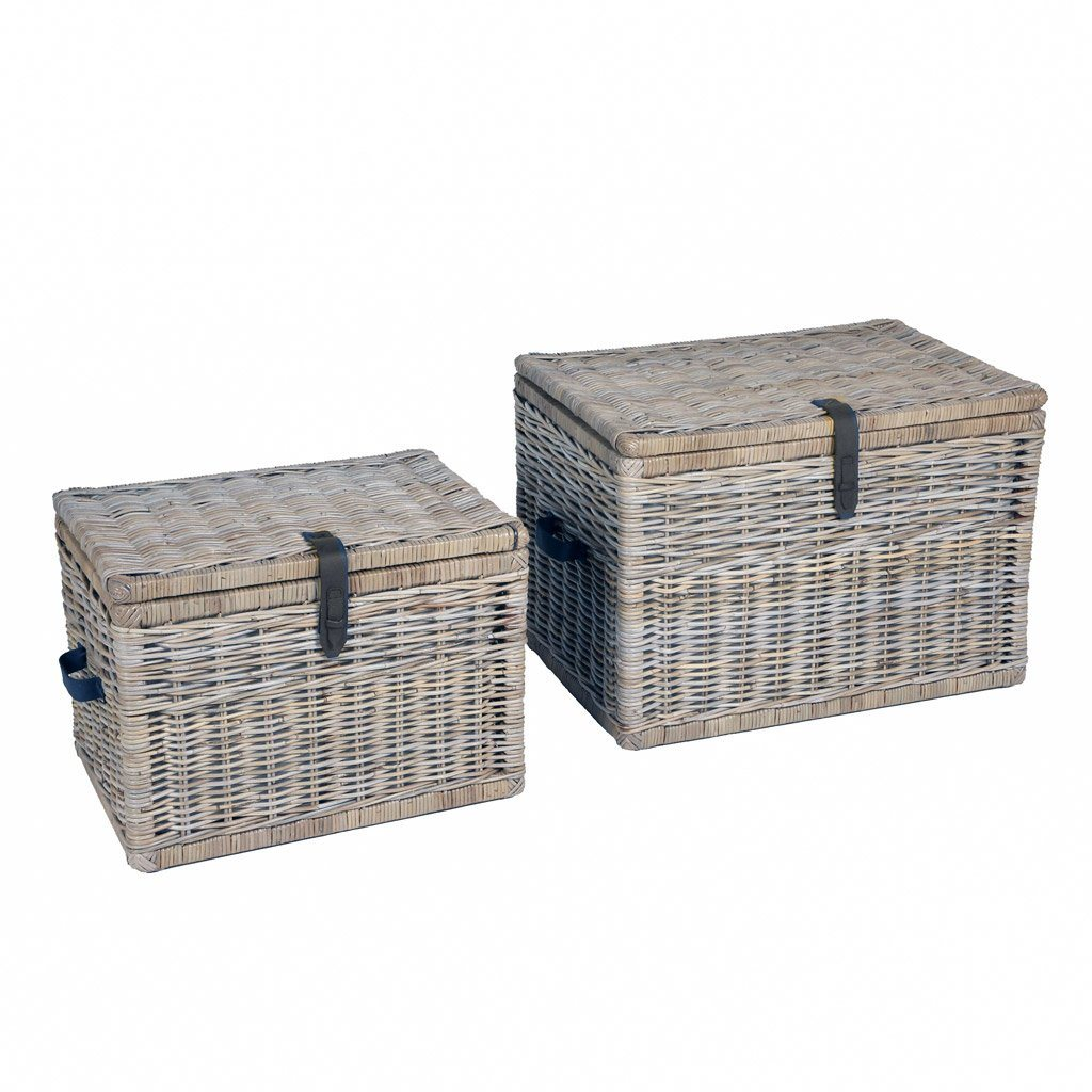Charmant ... Deep Kubu Wicker Storage Trunk, Nested Set Of 2 In Serene Grey | The  Basket ...