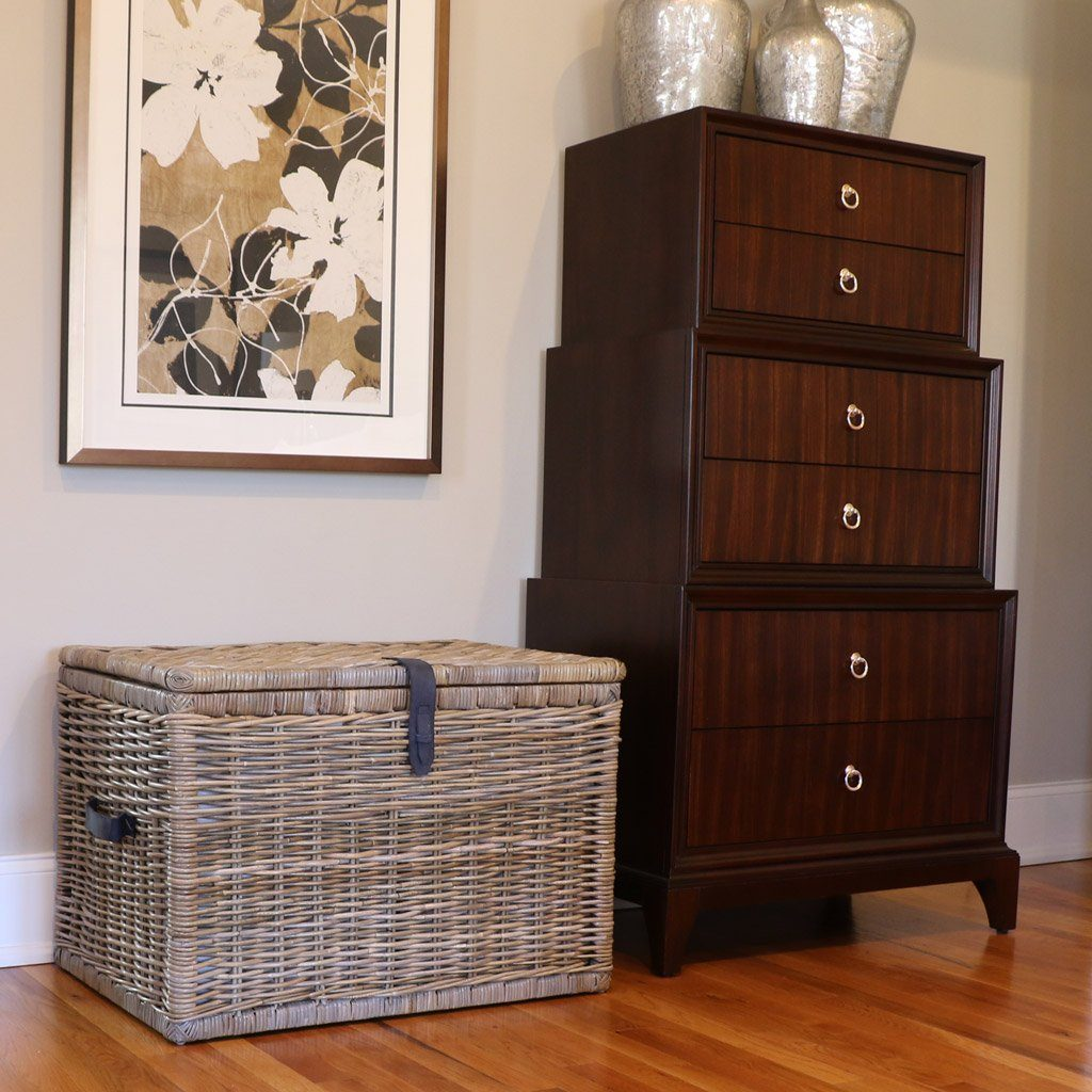 ... Deep Kubu Wicker Storage Trunk, XL In Serene Grey | Blanket And Linen  Storage |