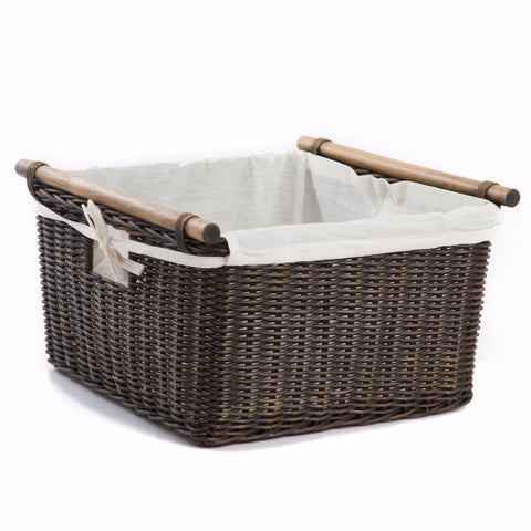 Fabric Liner For Deep Pole Handle Wicker Storage Basket