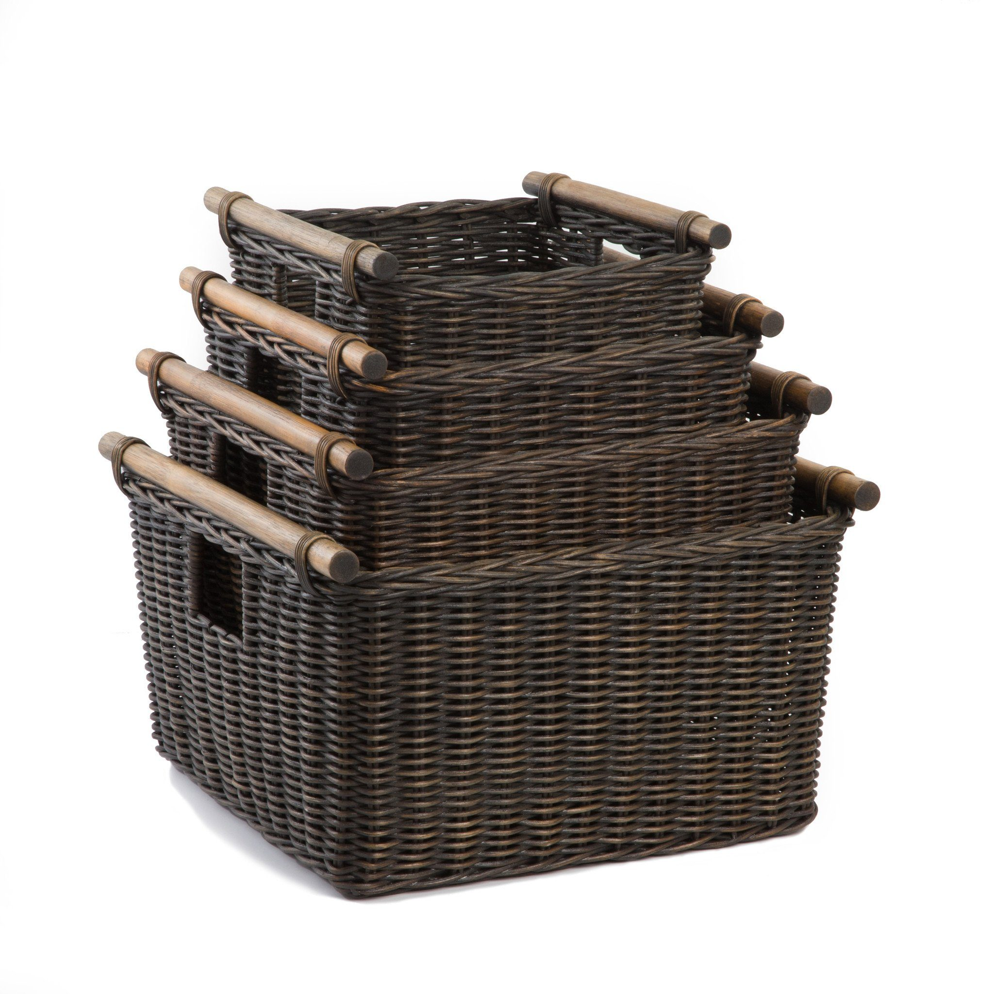 Home underbed storage baskets wicker underbed storage basket - The Basket Lady Deep Pole Handle Wicker Storage Baskets In Antique Walnut Brown 4 Sizes