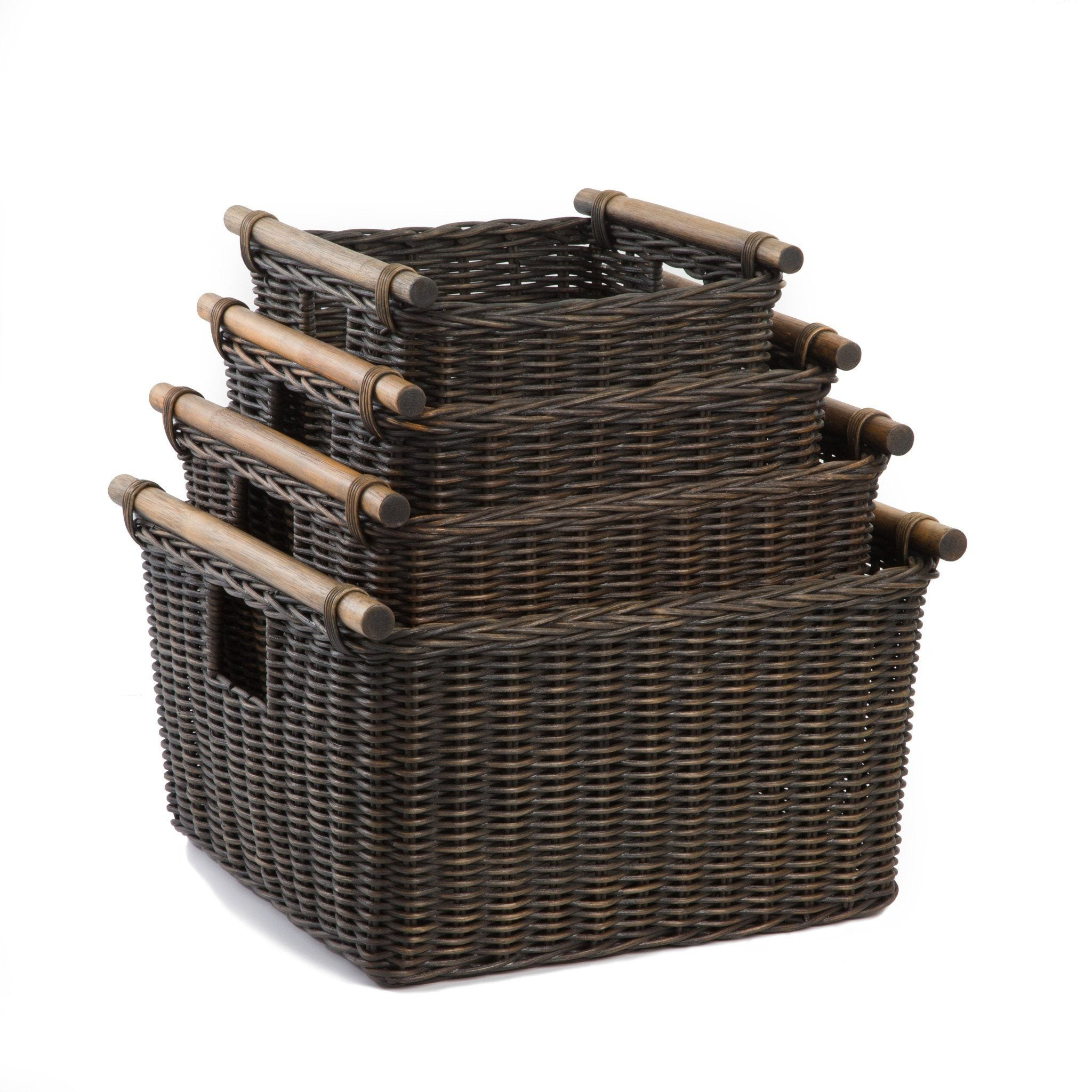 The Basket Lady Deep Pole Handle Wicker Storage Baskets In Antique Walnut  Brown, 4 Sizes ...