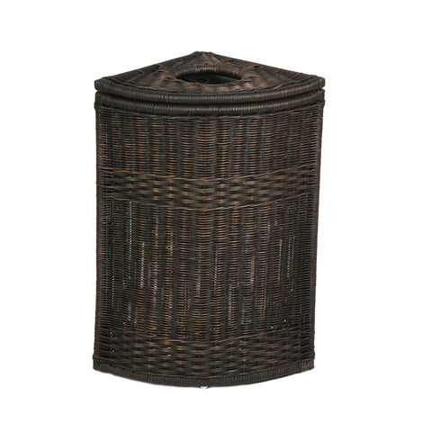 Beau Drop In Corner Wicker Trash Basket With Metal Liner