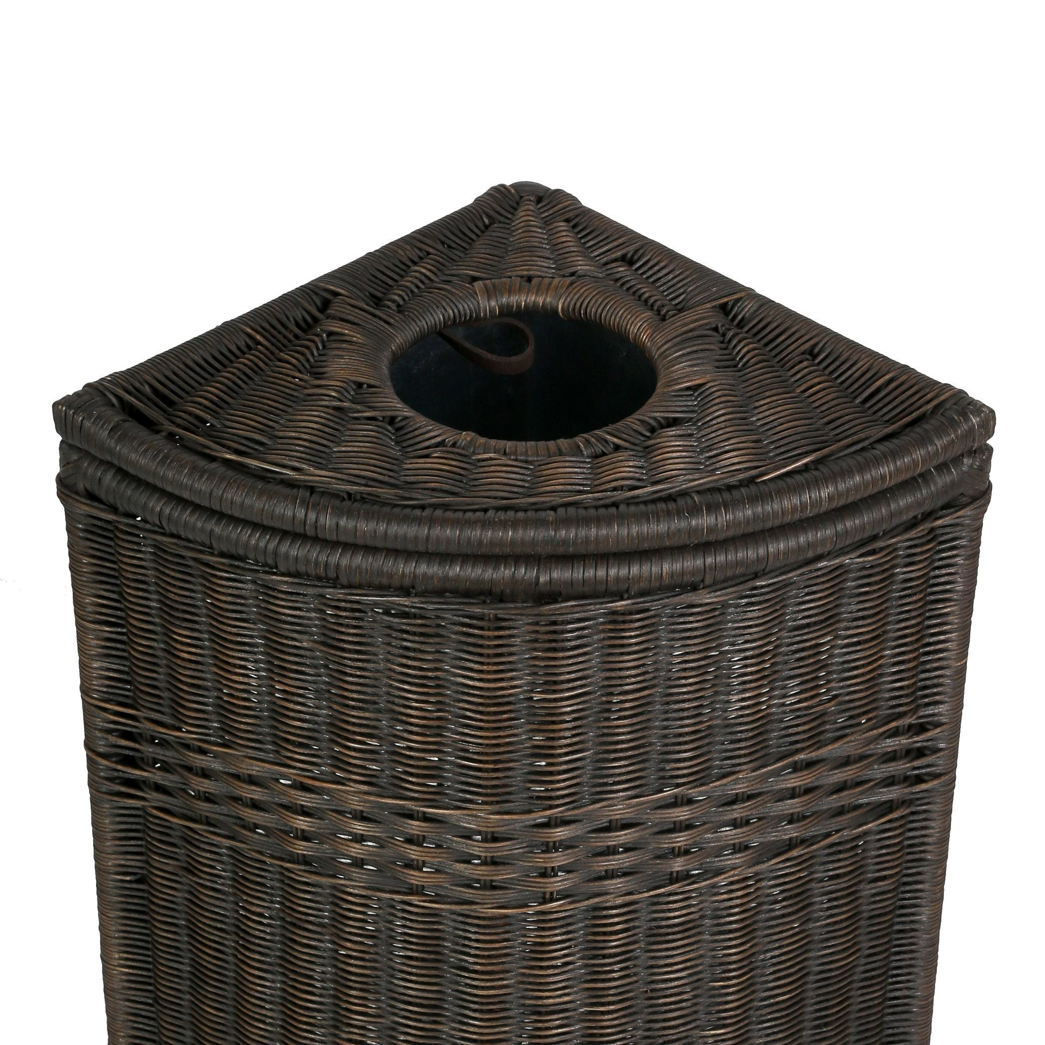 Drop in corner wicker waste basket with metal liner the basket lady - Wicker trash basket ...