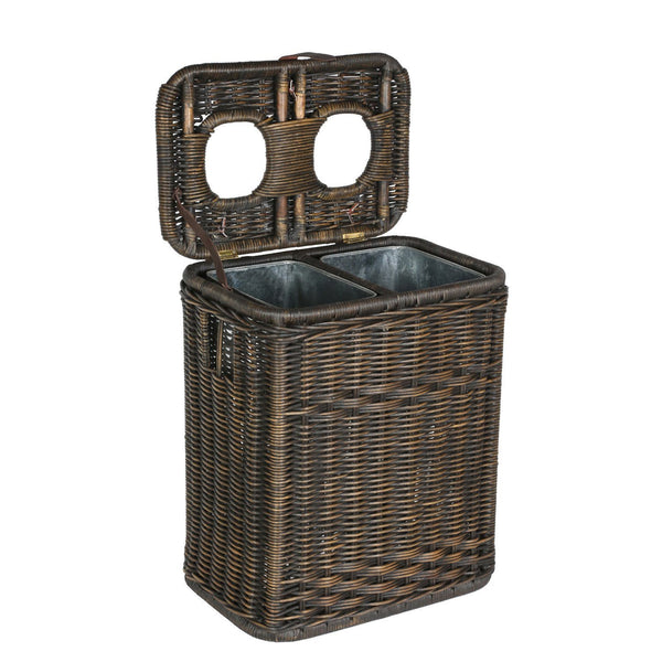 Wicker drop in divided recycling basket the basket lady - Divided wicker basket ...