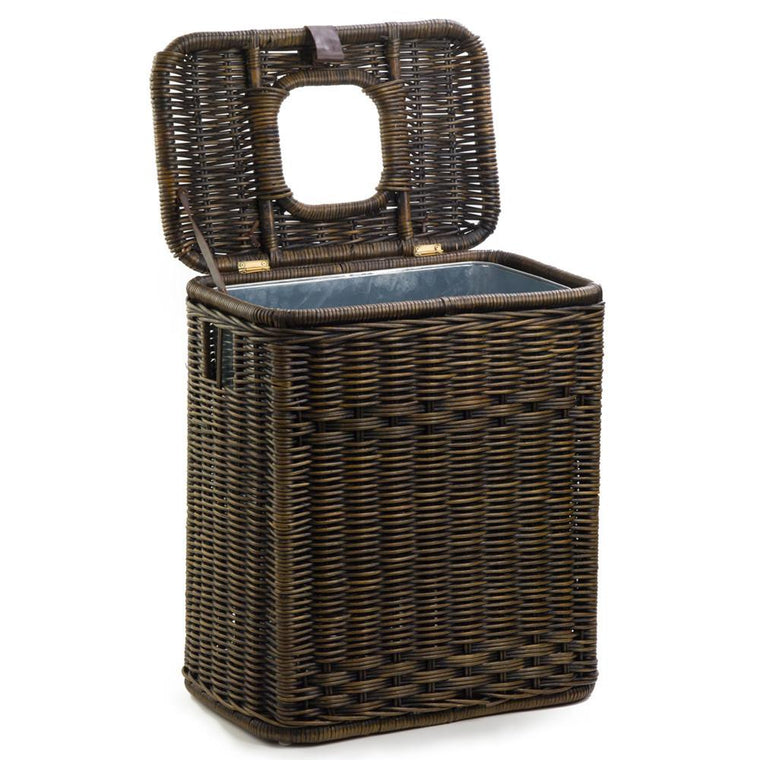 The Basket Lady Drop In Rectangular Wicker Waste Basket With Metal Liner  Antique Walnut Brown