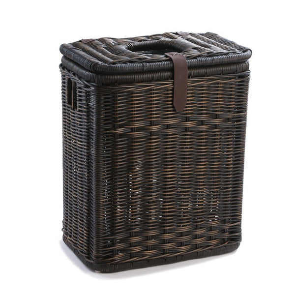Drop In Rectangular Wicker Waste Basket With Metal Liner