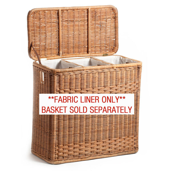 Fabric Liner For 3 Compartment Wicker Laundry Hamper The