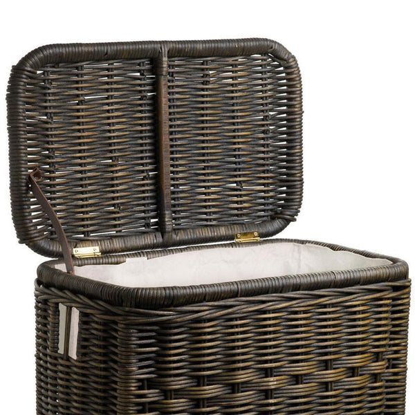 Fabric liner for narrow rectangular wicker laundry hamper the basket lady - Wicker laundry basket with liner and lid ...