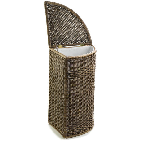 Corner Wicker Basket With Lid : Corner wicker laundry hamper clothes the basket