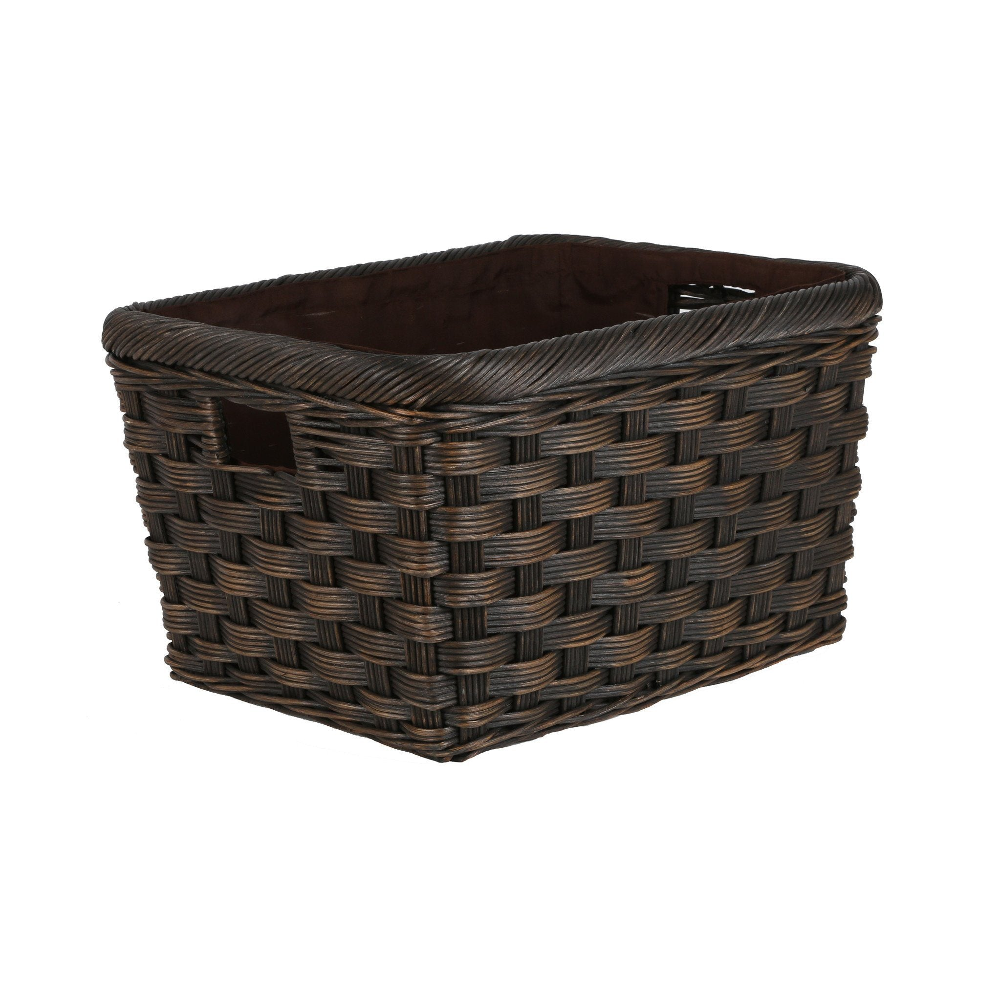 ... Jumbo Wicker Storage Basket In Antique Walnut Brown Size M From The  Basket Lady ...