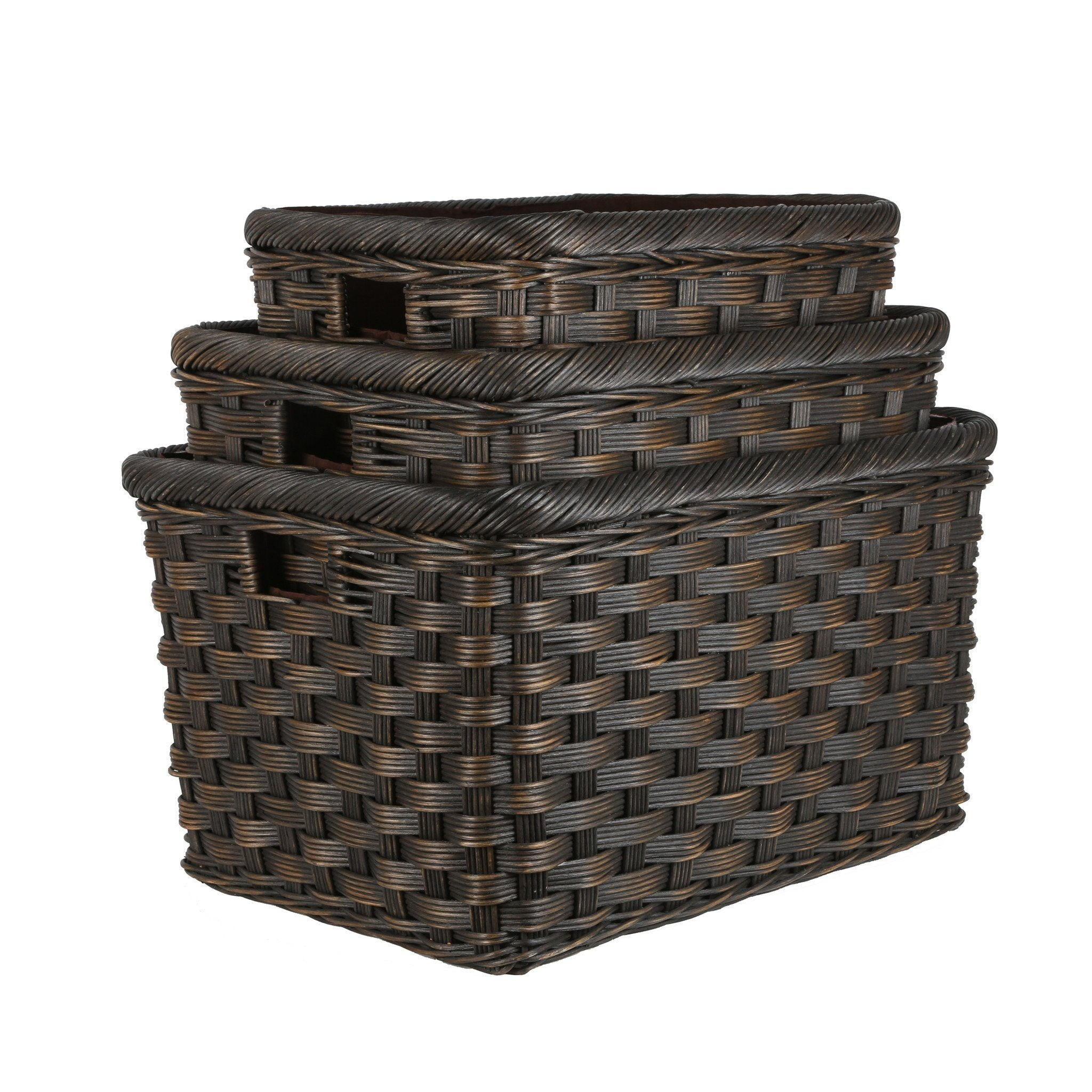 Jumbo Wicker Storage Basket In Antique Walnut Brown 3 Sizes Shown From The  Basket Lady ...