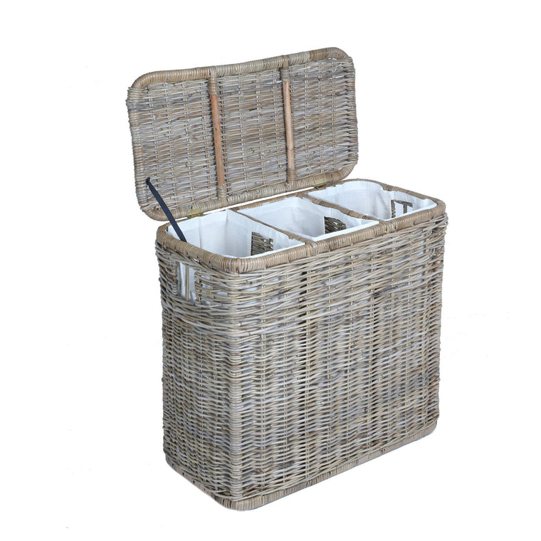 3 Compartment Kubu Wicker Laundry Hamper In Serene Grey With Lid Open | The  Basket