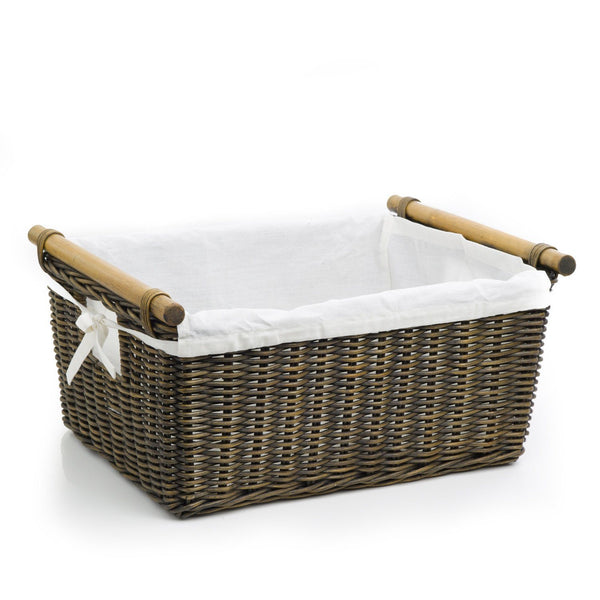 pole handle wicker storage basket the basket lady. Black Bedroom Furniture Sets. Home Design Ideas
