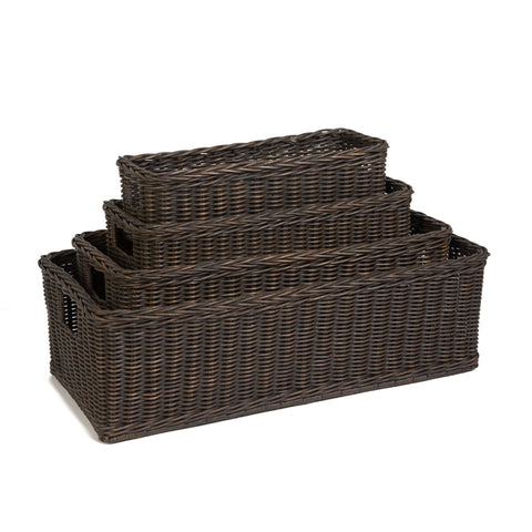 Long Low Wicker Basket, 4 sizes shown in Toasted Oat