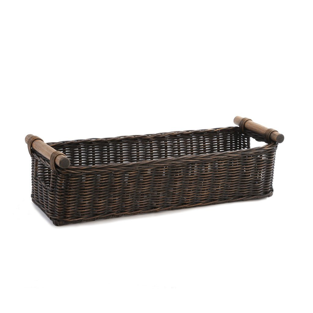 Charmant ... Long Narrow Pole Handle Wicker Storage Basket In Antique Walnut Brown,  Size M | The ...