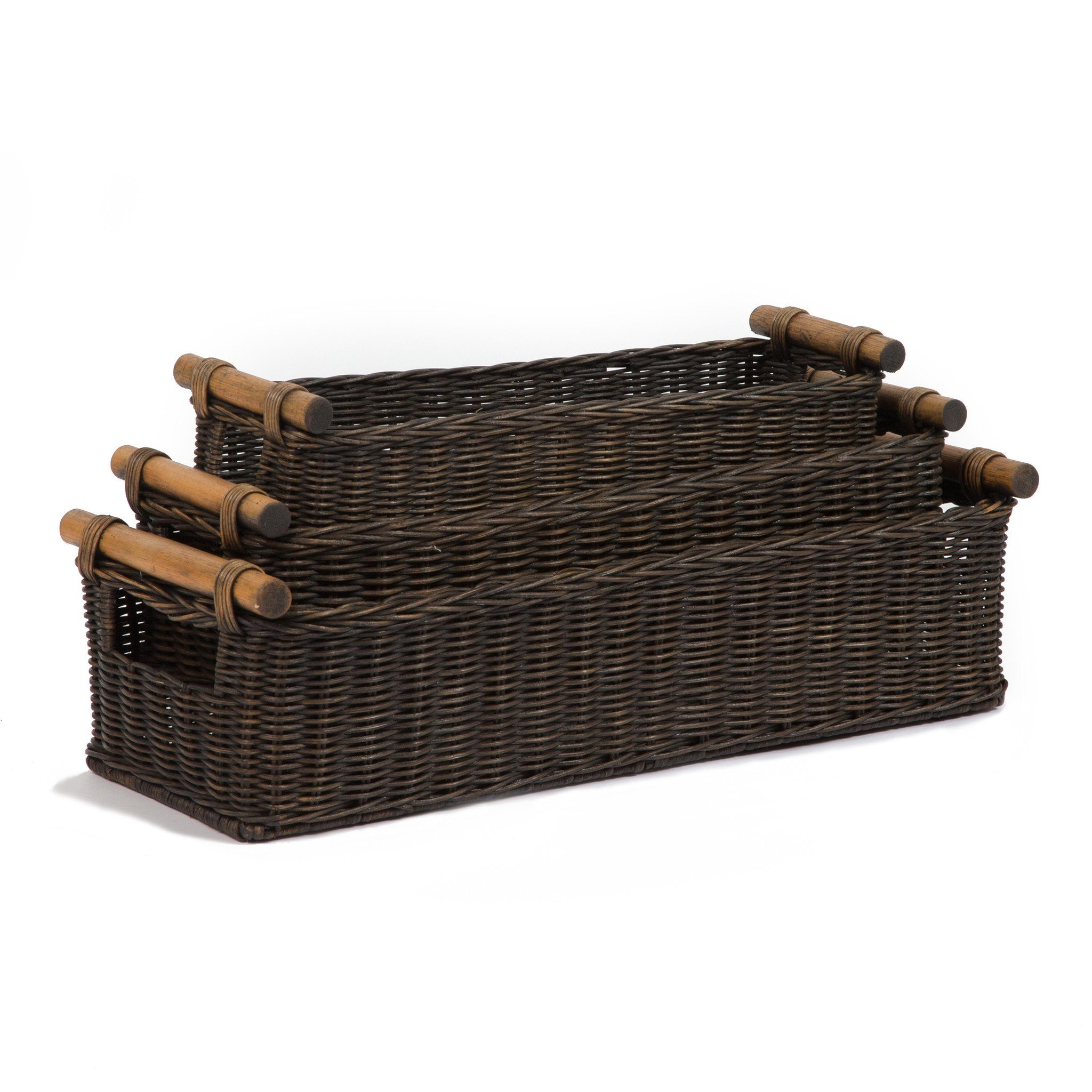 Long Narrow Pole Handle Basket, 3 sizes shown in Antique Walnut Brown