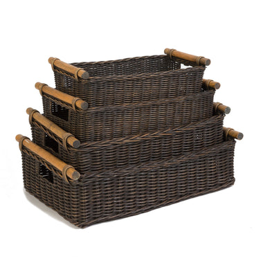 The Basket Lady Low Pole Handle Wicker Storage Basket