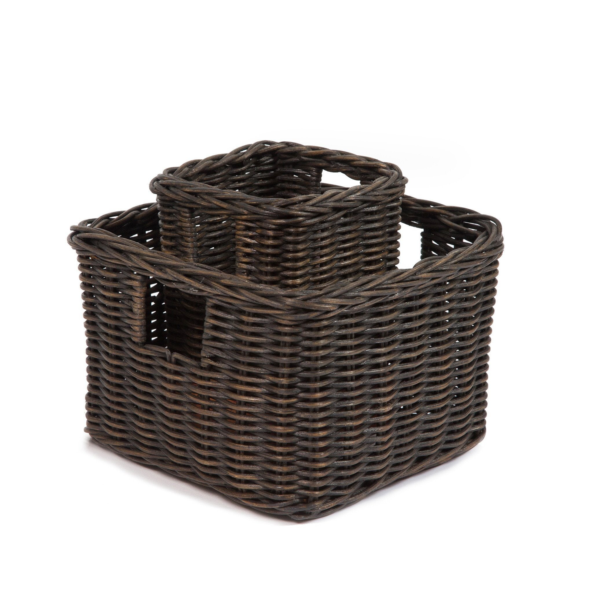 The Basket Lady Low Square Wicker Shelf Basket, 2 Sizes Shown | The Basket  Lady ...