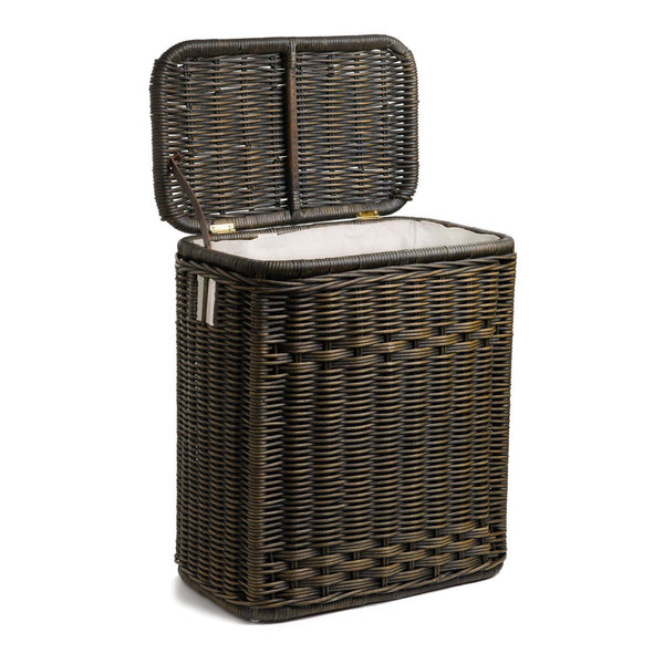 Narrow Rectangular Lidded Wicker Laundry Hamper The