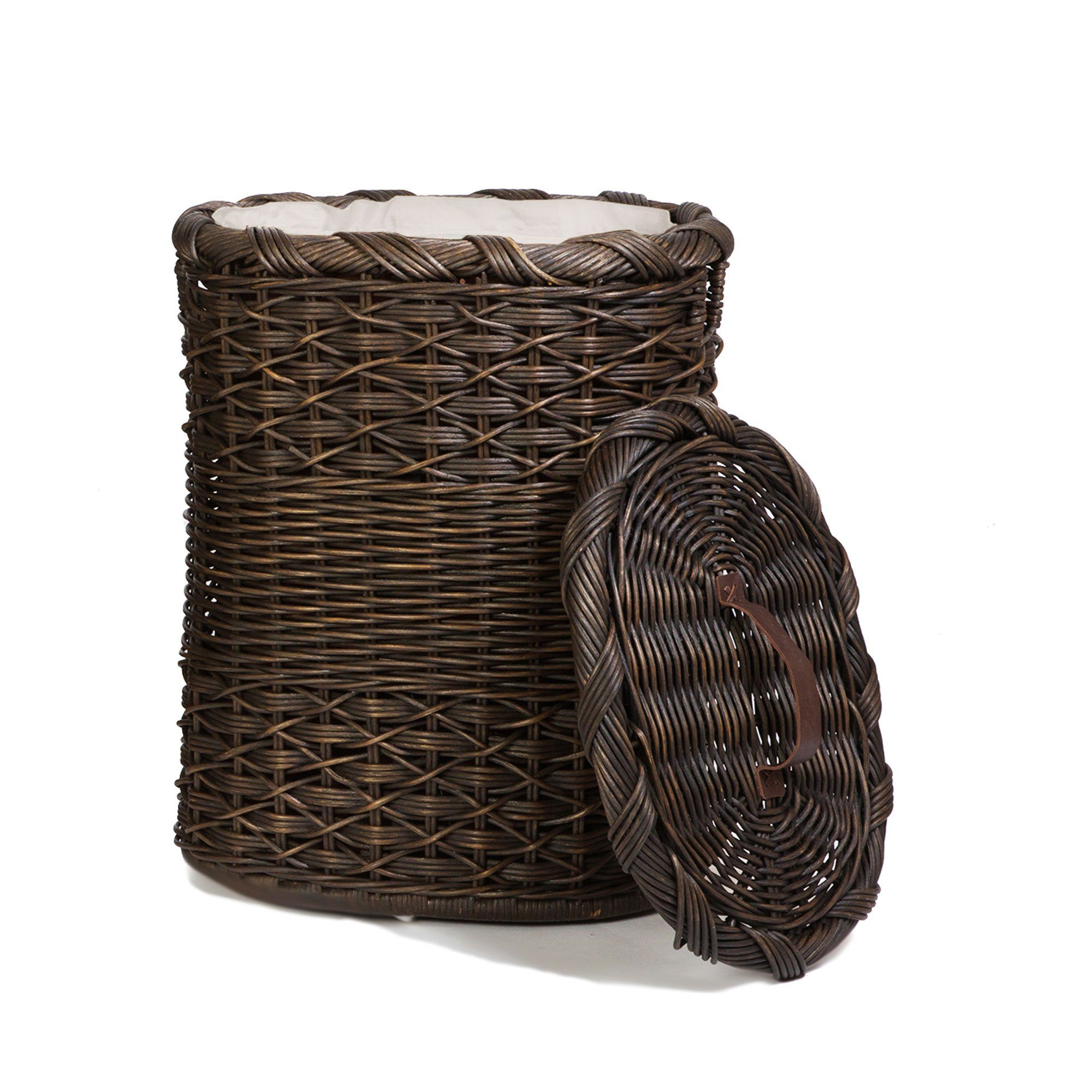 Oval wicker laundry hamper the basket lady - Rattan laundry hamper ...