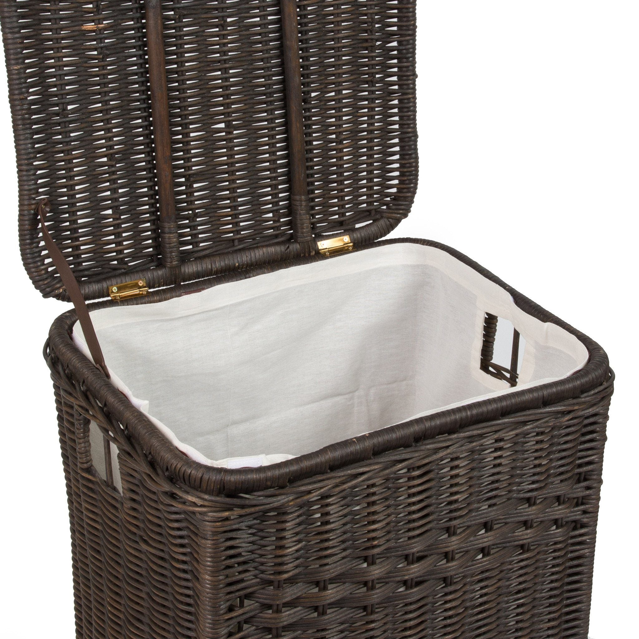 Basket liners the basket lady - Wicker laundry basket with liner and lid ...