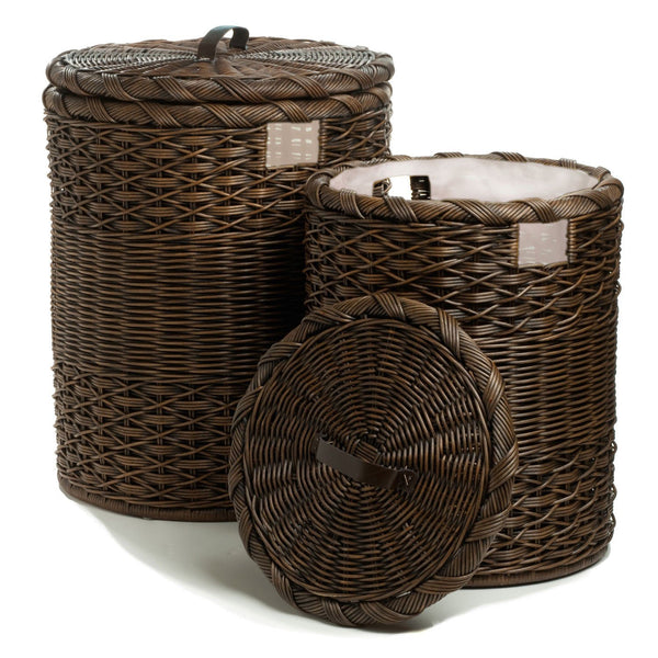 Round wicker laundry hamper clothes hamper the basket lady - Wicker clothes hamper ...