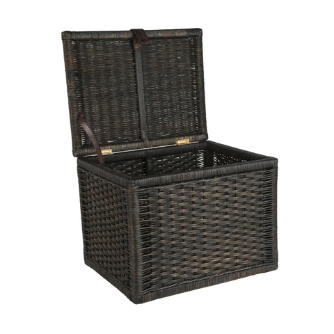 Small Wicker Storage Trunk in Antique Walnut Brown with lid open from The  Basket Lady
