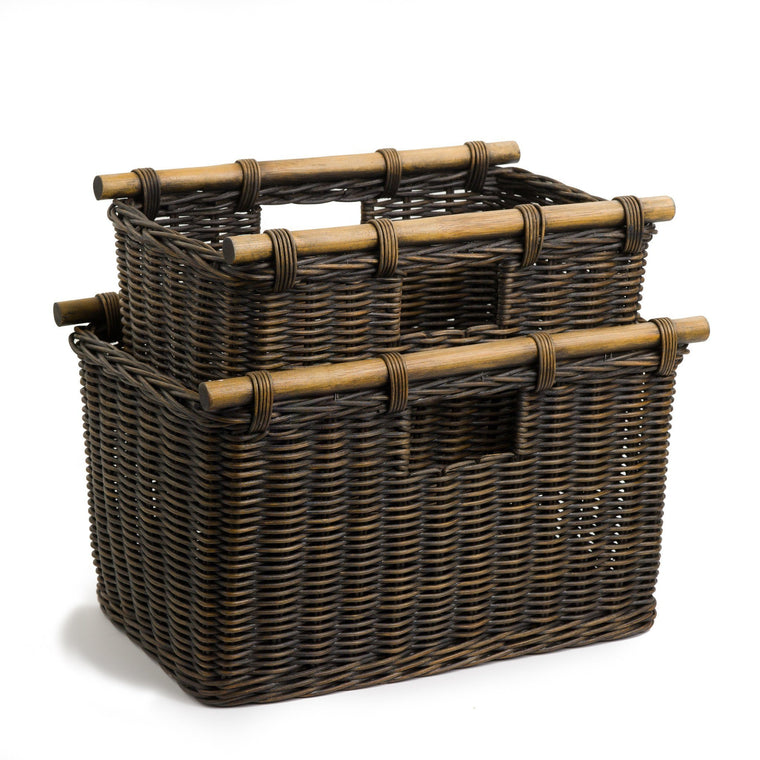 Tall Narrow Wicker Storage Basket In Antique Walnut Brown, 2 Sizes Shown |  The Basket
