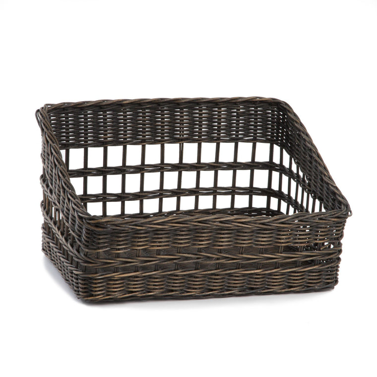 Merveilleux The Basket Lady Tapered Front Wicker Pantry Basket In Antique Walnut Brown  | The Basket
