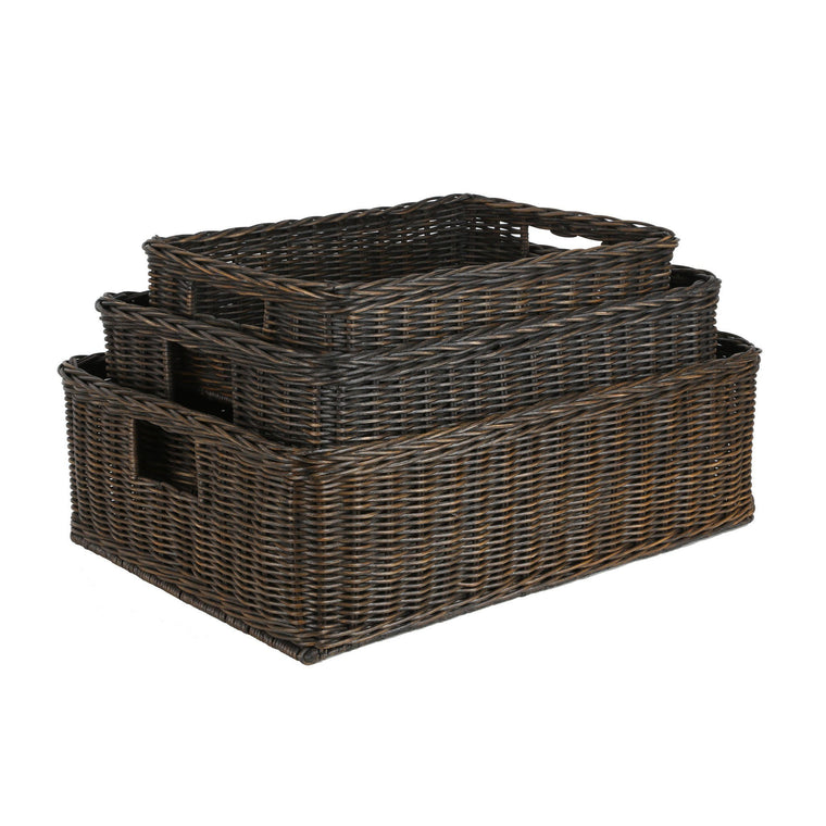 The Basket Lady Underbed Wicker Storage Basket In Antique Walnut Brown 3  Sizes Shown From The