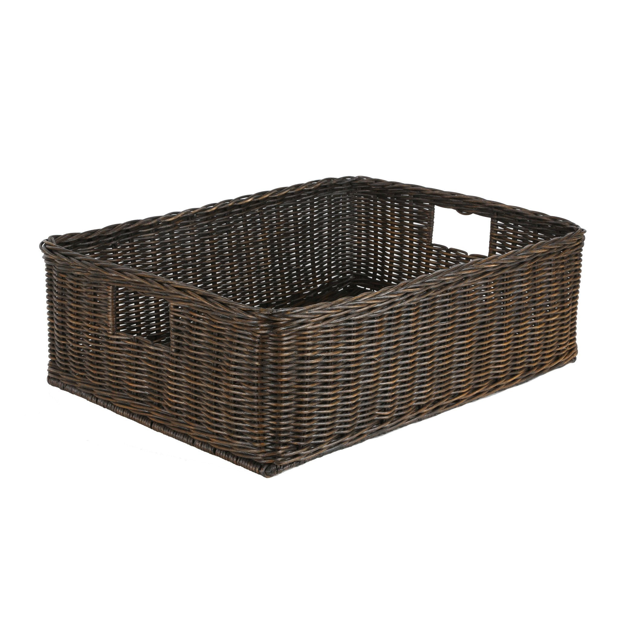 Home underbed storage baskets wicker underbed storage basket -  The Basket Lady Underbed Wicker Storage Basket In Antique Walnut Brown Size Xl From The Basket