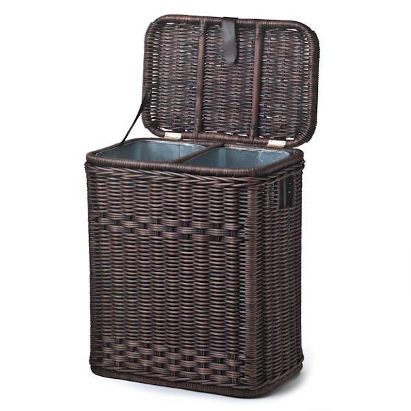 Wicker divided recycling basket the basket lady - Divided wicker basket ...