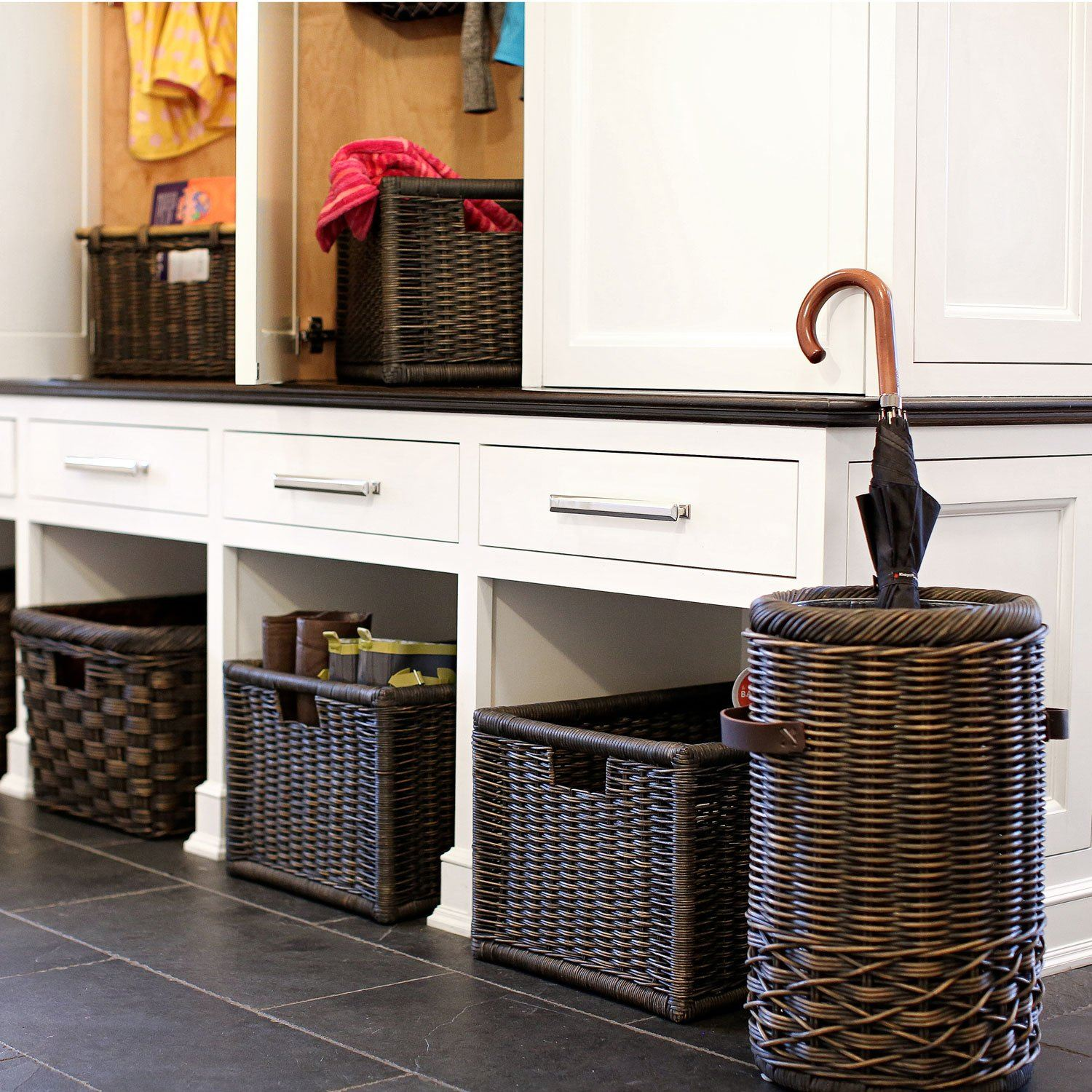 ... Wicker Kitchen Cabinet Basket In Large | Mudroom Storage | The Basket  Lady