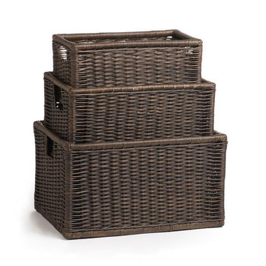 The Basket Lady Kitchen Cabinet Basket Antique Walnut Brown SMALL (size 3).  Wicker Kitchen Cabinet Basket