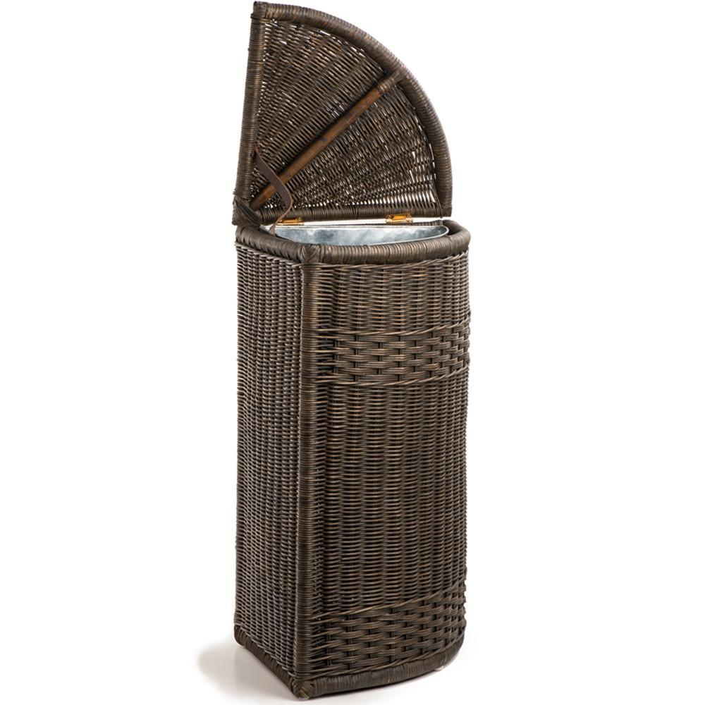 Corner Wicker Waste Basket With Metal Liner The Basket Lady