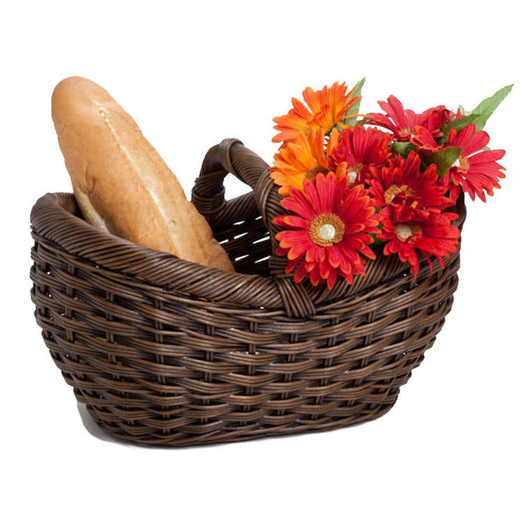 Wicker Farmers Market Basket With Bread And Flowers | The Basket Lady