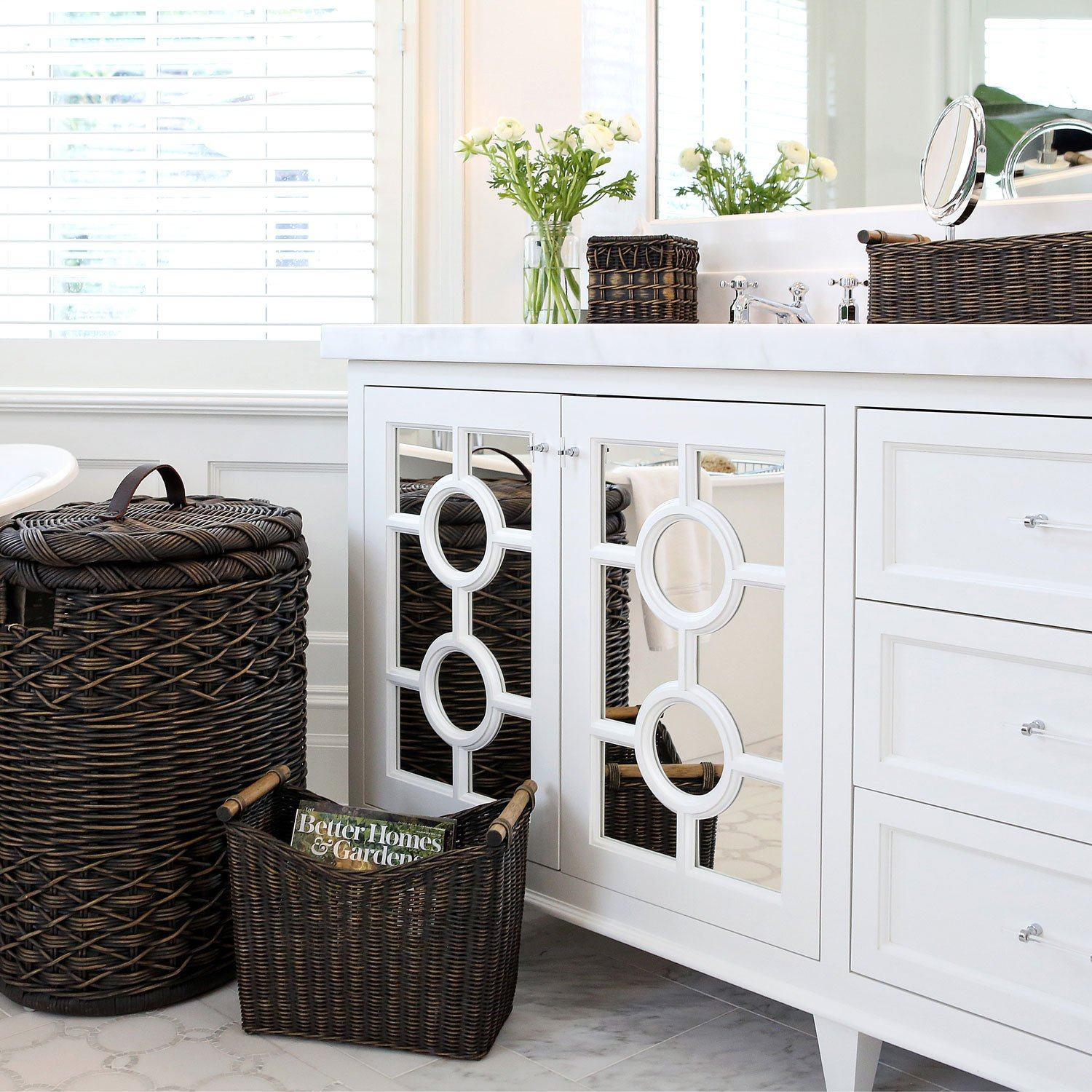 ... Long Narrow Pole Handle Wicker Basket | Bathroom Countertop Accessories  And Storage | The Basket Lady ...