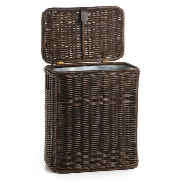 The Basket Lady Kitchen Trash Basket With Metal Liner Antique Walnut Brown  One Size (size ...