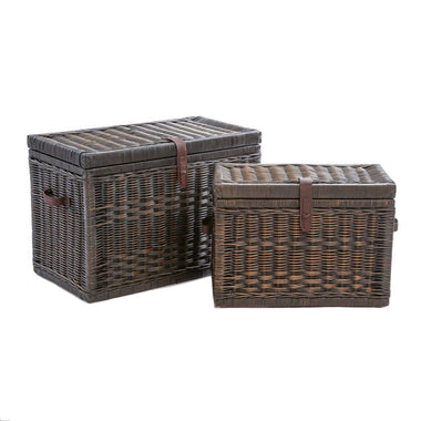 Wicker Storage Trunk In Antique Walnut Brown, Nested Set Of 2 | The Basket  Lady
