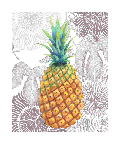 pineapple gold art print by Judith M Boyes