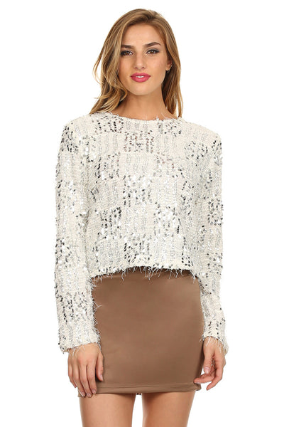 White and Silver Sequin Patchwork Sweater-1