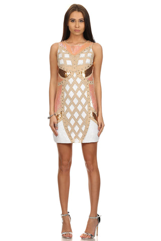 Sequin White BodyCon Dress-1