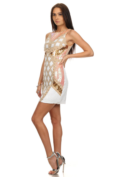 Sequin White BodyCon Dress-2