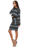 Black & Blue Long Sleeve Sweater and Skirt Set-2