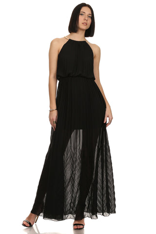 Pleated Sheer Maxi dress-1