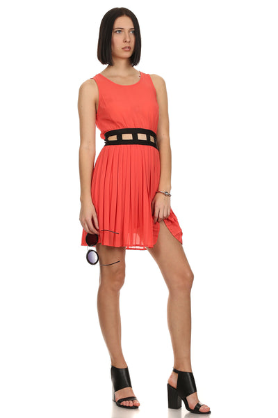 Pleated Neon Coral Cut Out Dress-1