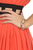 Pleated Neon Coral Cut Out Dress-6